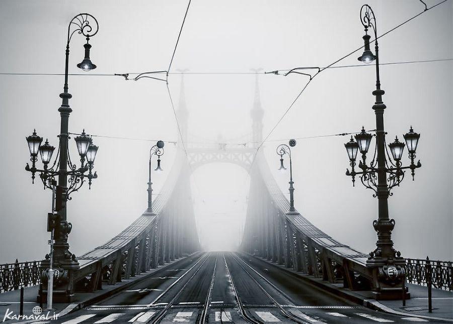 تصاویری از بوداپست غرق در مه
