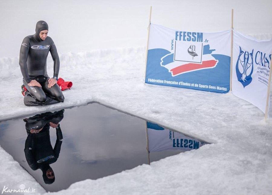 تصاویری از ثبت یک رکورد دیوانه وار در آب های یخ زده