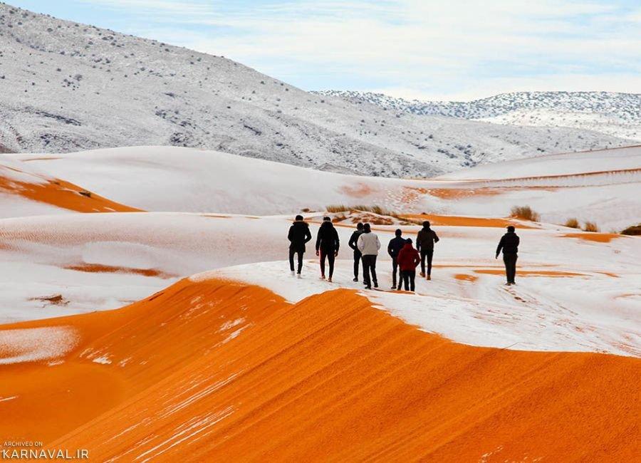 تصاویری از بارش برف در صحرای بزرگ آفریقا