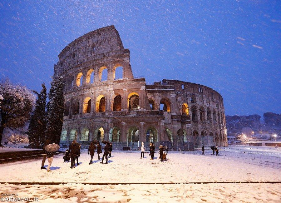 تصاویری از بارش برف در رم