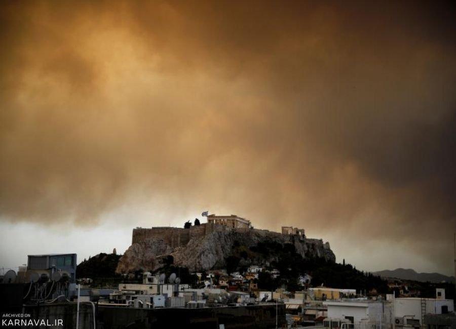 تصاویری از آتش سوزی جنگل در آتن
